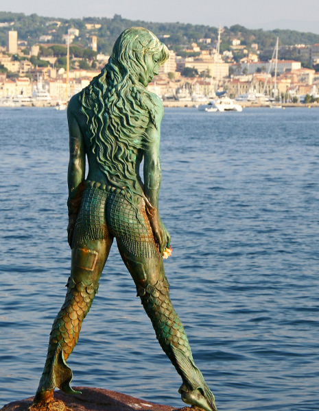 Atlante, Mermaid statue in Port Canto, Cannes.  Photo © by Phil-eye.