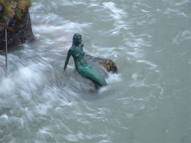 Mermaid statue - Miranda, Mermaid of Dartmouth.  Photo and copyright by Heather Robinson.