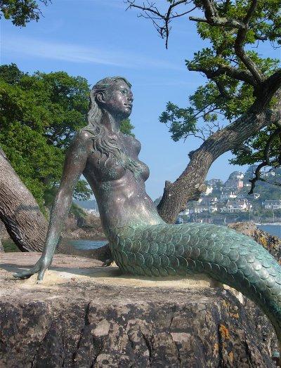 Miranda, Mermaid of Dartmouth.  Bronze statue by Elisabeth Hadley.