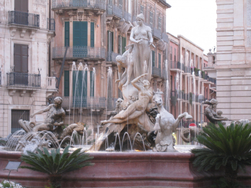 Fontana di Diana in Syracuse, Italy.  Photo © by Crosby Mcyun.