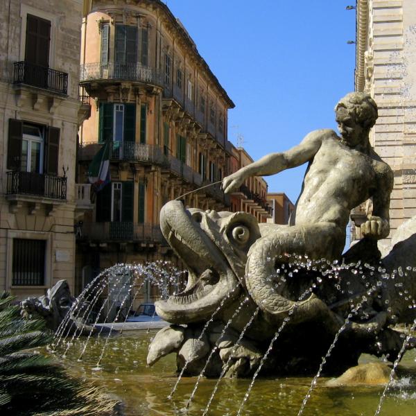 Fontana di Diana in Syracuse, Italy.  Photo © by Jeff Kerwin.