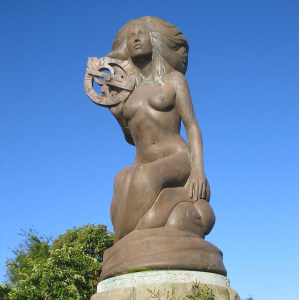 Mermaid in Ganges by sculptor Thomas Richard McPhee.  Donated by Rotary Club of Salt Spring Island.