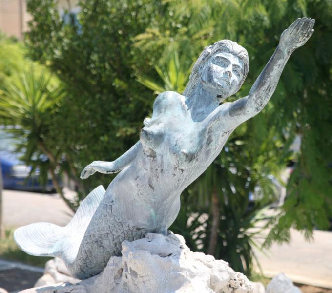 The Mermaid statue on Poros.  Photo by Bohdan Karmasyn