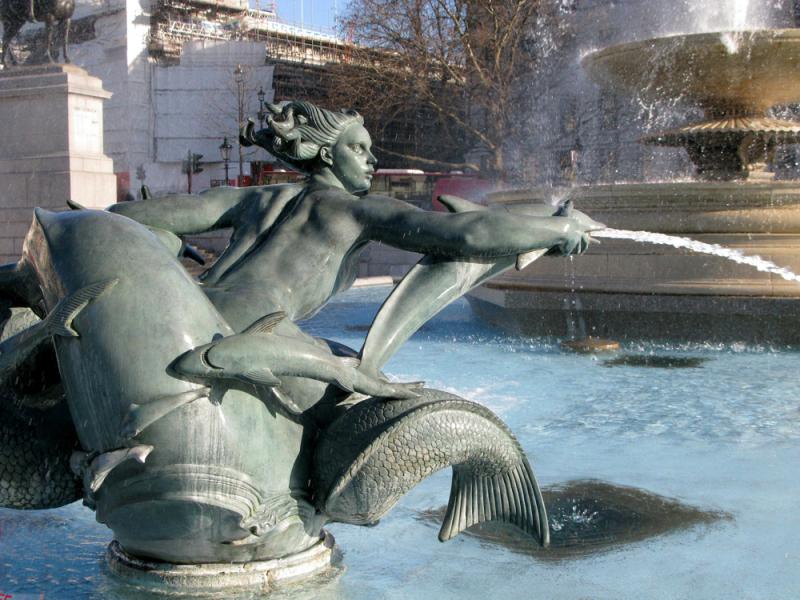 Trafalgar Square mermaid statue.  Photo © by Mike Smith.