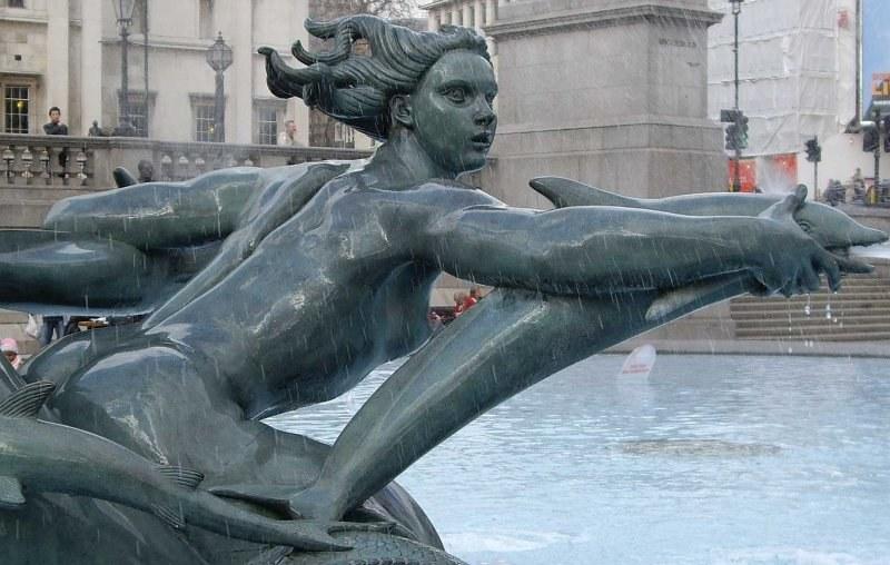 Trafalgar Square fountains with mermaid statues