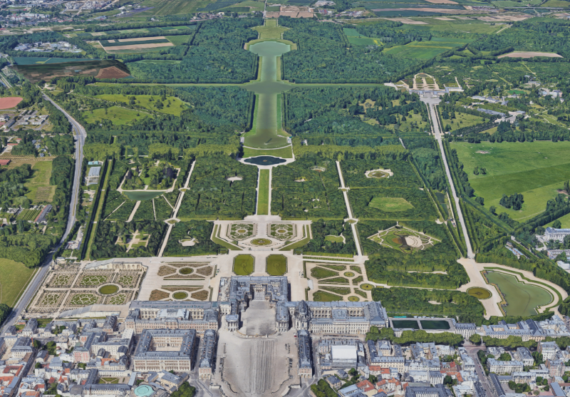 Versailles Palace and Gardens.  Image © by Google Maps