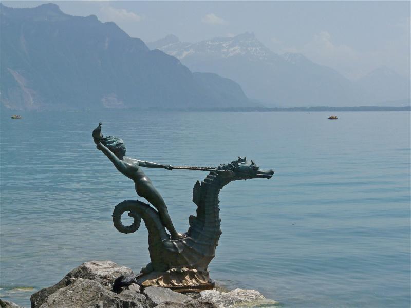 Nymph on Seahorse in Lake Geneva.  Photo © by Kathy Walz.