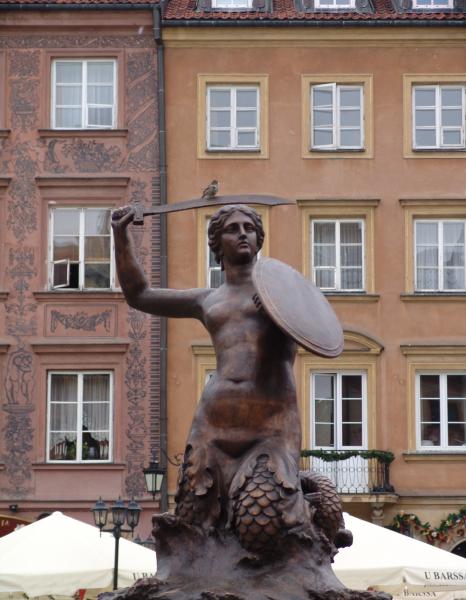 Syrenka Mermaid Statue in Warsaw.  Photo © by Hans Cornette.
