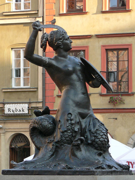The Syrenka (Mermaid), protector and symbol of Warsaw, in Old town Market Square
