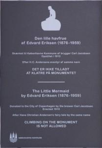 Plaque by The Little Mermaid Statue in Copenhagen