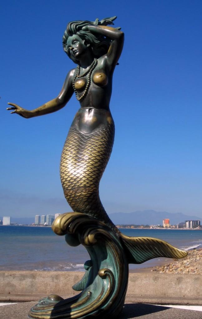 Mermaid Sculpture - Lying Down (Antiqued Finish)