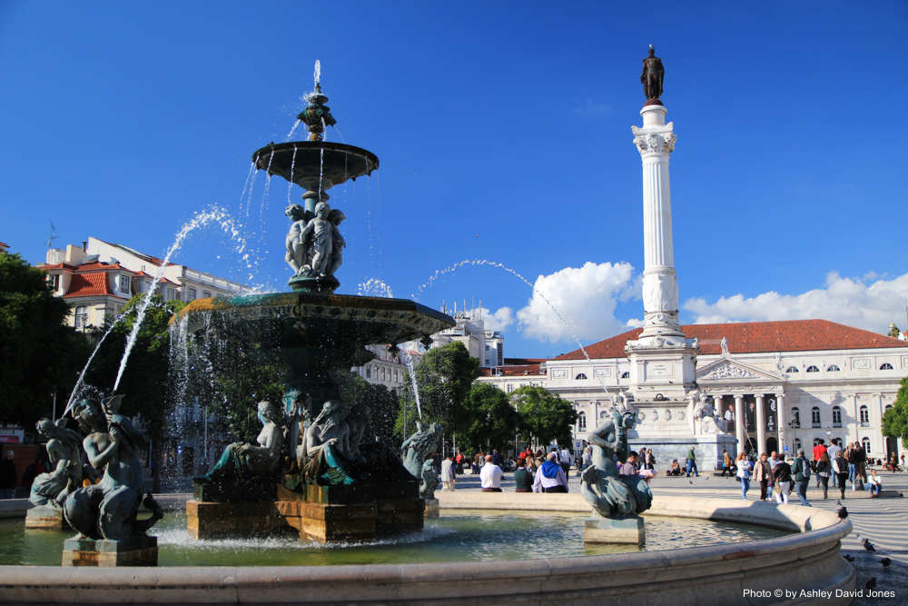 Mermaid Statues In The Rossio Square Fountains Lisbon