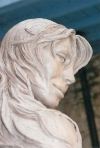Face of 'Atlante' Mermaid Sculpture in Cannes.